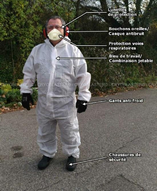Prestataire de nettoyage cryogénique avec équipements de protection individuelle