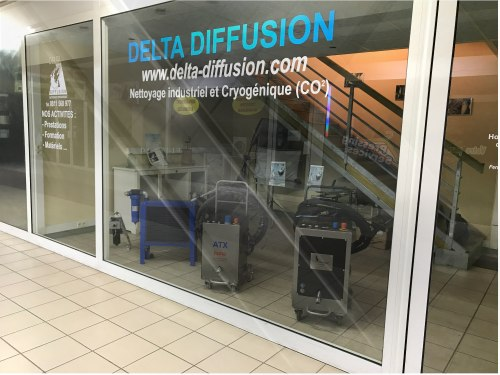 Location machine-nettoyage cryogénique : agence Delta Diffusion