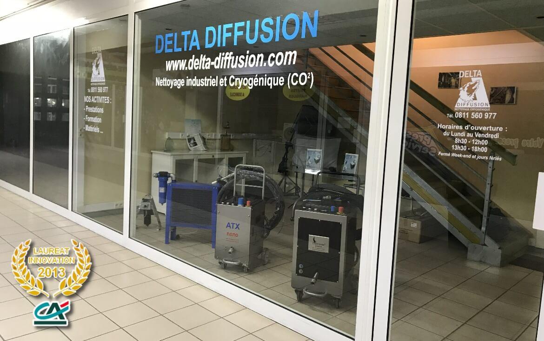 Photo show room Delta Diffusion, propriétaire de Cryoblaster®